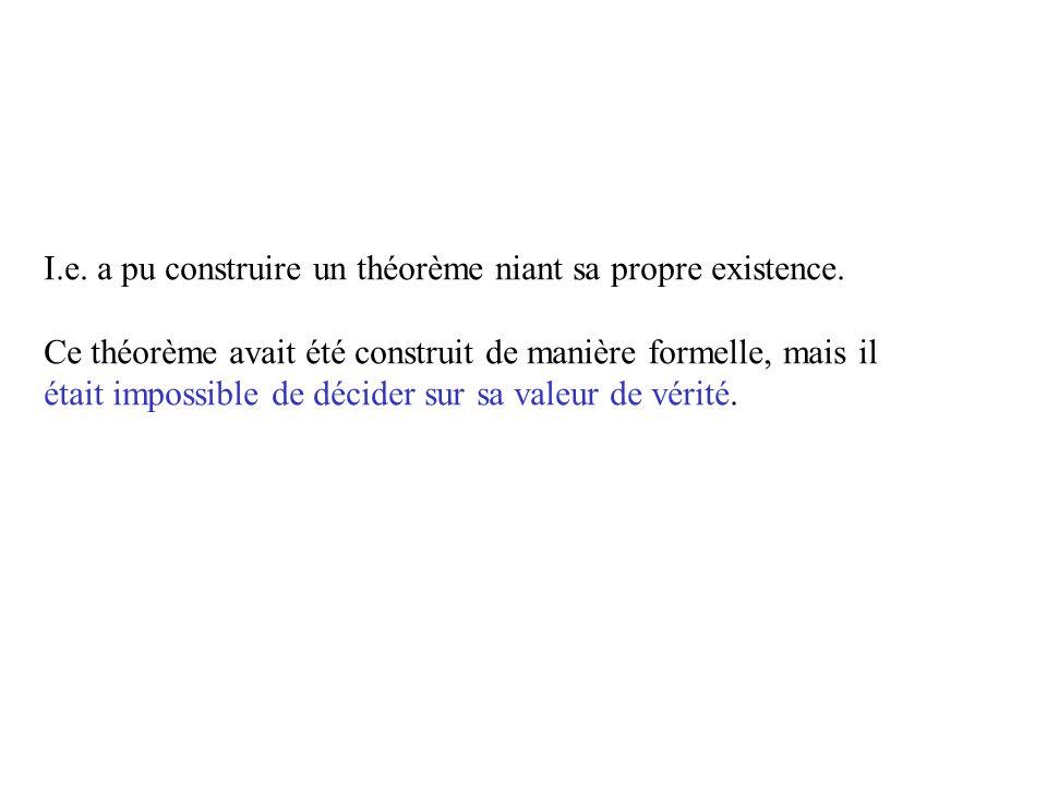 Gödel (suite) Deux niveaux de langage : - celui de la phrase - celui qui parle de la phrase Gödel a construit un énoncé analogue à la première phrase