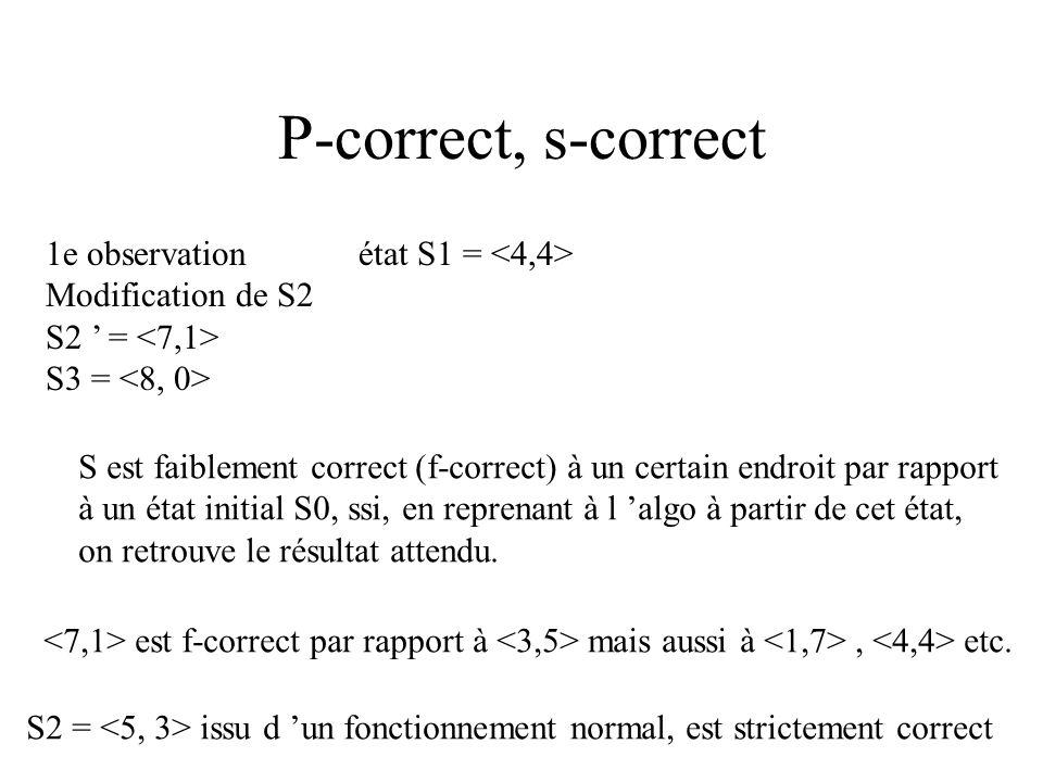 Tolérance aux erreurs read (a, b); while b > 0 do begin a := a + 1; b := b - 1; manip (a, b) ; end; 1e observationétat S1 = On modifie S2 en S2 = le b