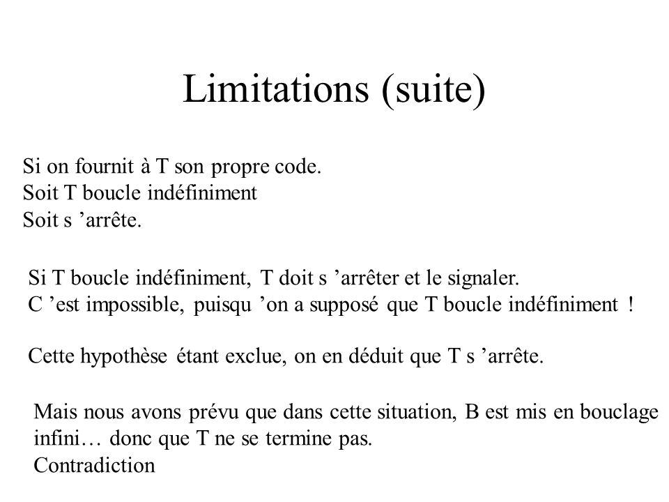 Limitations (suite) T doit dire que : B1 et B2 ont une boucle infinie que B3 boucle infiniment si a prend une valeur < 10. Si T repère une boucle infi