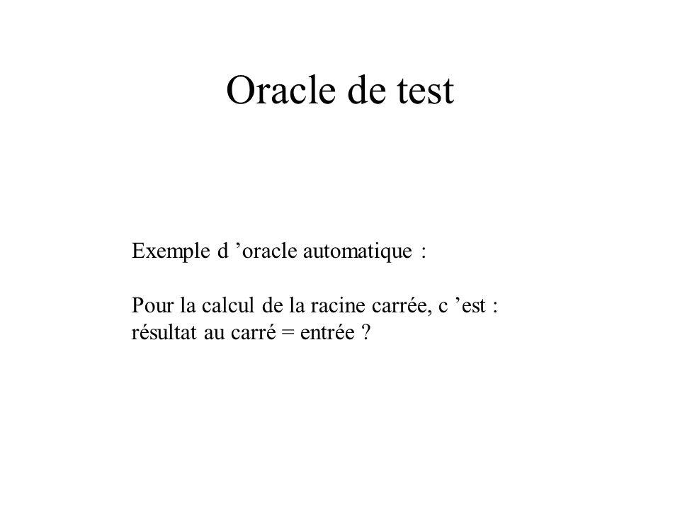 Jeu de test, scénario de test DT = {x = 5, y = 5, b = 58} Jeux de test : ensemble de données de test Scénario de test : séquence d actions