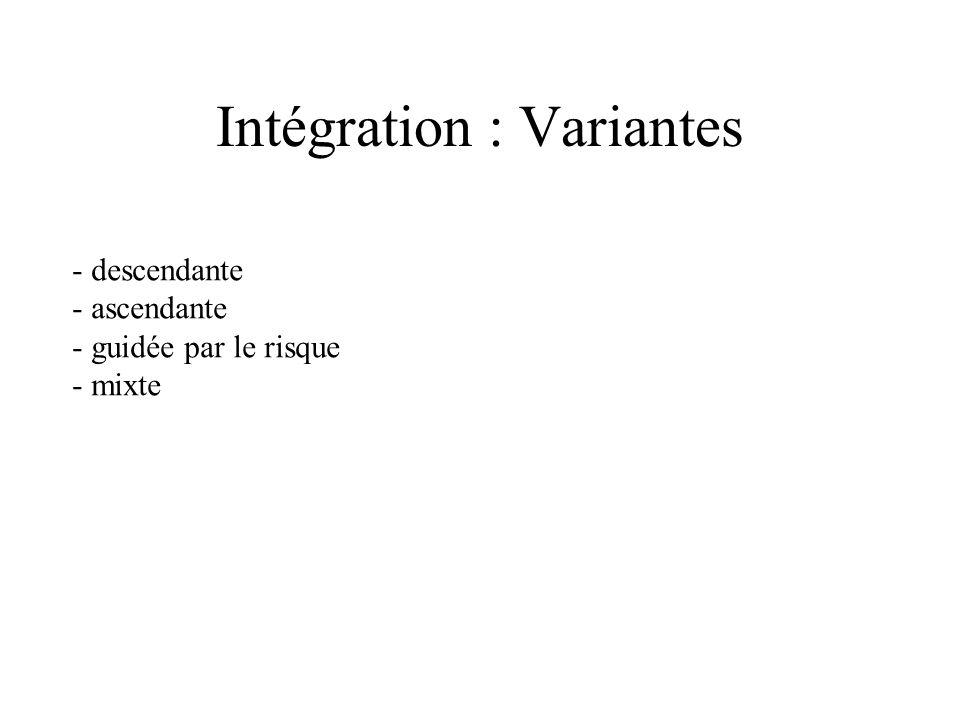 Intégration 1) Intégration massive (big bang) 2) au fil de l eau 3) par incréments (agrégats) Lanceurs : composants sollicitant le composant à tester