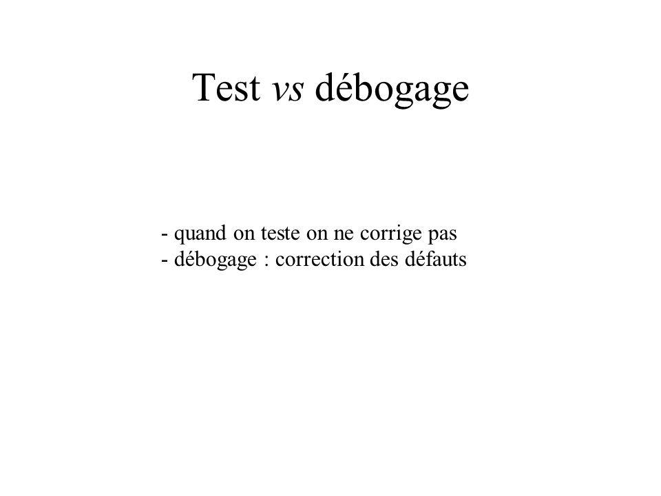 Test vs débogage - quand on teste on ne corrige pas - débogage : correction des défauts