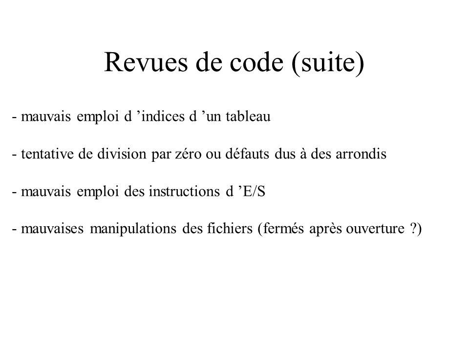 Revues de code (suite) - Emploi d instruction de la forme : if ( x = F(a) + a ) then … ou if (F or P) then … où F est une fonction booléenne ayant des
