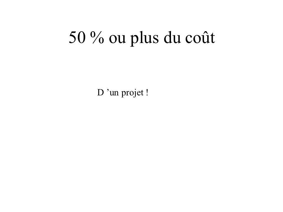 50 % ou plus du coût D un projet !