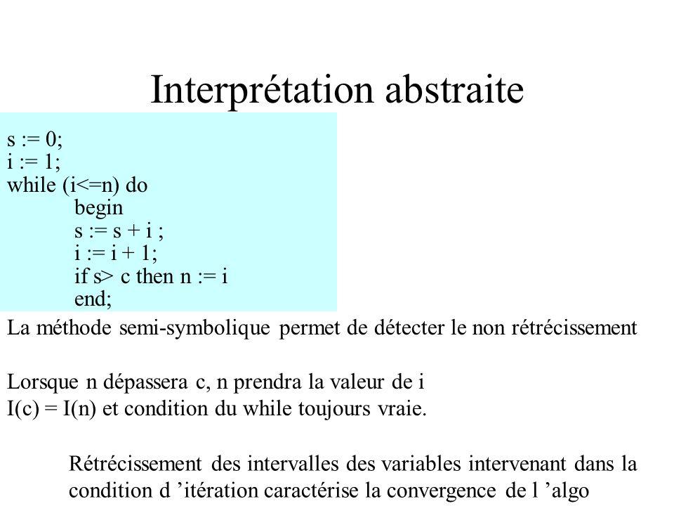 Interprétation abstraite Agrandissons I(c) pour satisfaire s > c I(c ) = 200..1000 n := i est symboliquement exécutée, mais peut provoquer bouclage in