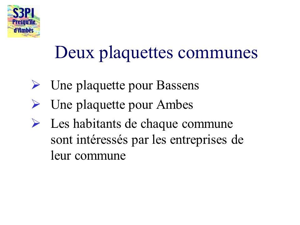 Deux plaquettes communes Une plaquette pour Bassens Une plaquette pour Ambes Les habitants de chaque commune sont intéressés par les entreprises de le