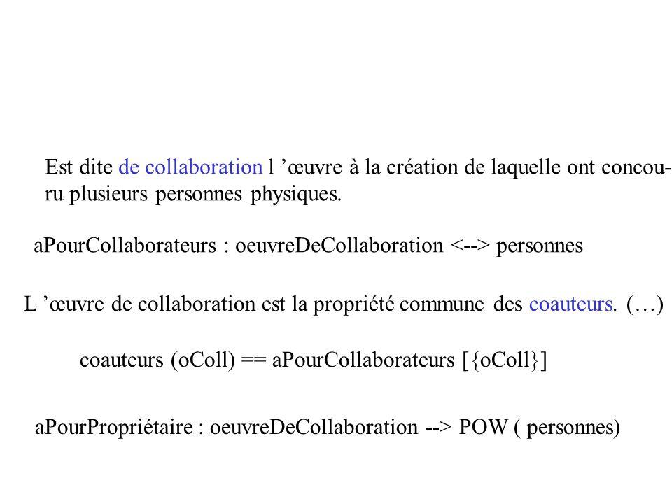 Est dite de collaboration l œuvre à la création de laquelle ont concou- ru plusieurs personnes physiques. aPourCollaborateurs : oeuvreDeCollaboration