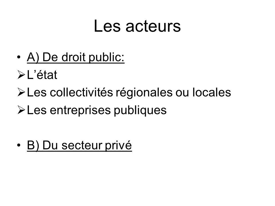 Les acteurs A) De droit public: Létat Les collectivités régionales ou locales Les entreprises publiques B) Du secteur privé