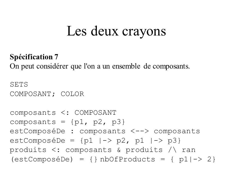 Les deux crayons Spécification 7 On peut considérer que l on a un ensemble de composants.