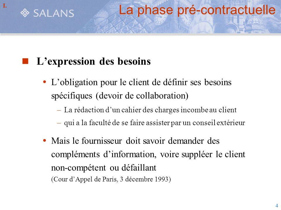 4 La phase pré-contractuelle Lexpression des besoins Lobligation pour le client de définir ses besoins spécifiques (devoir de collaboration) –La rédac