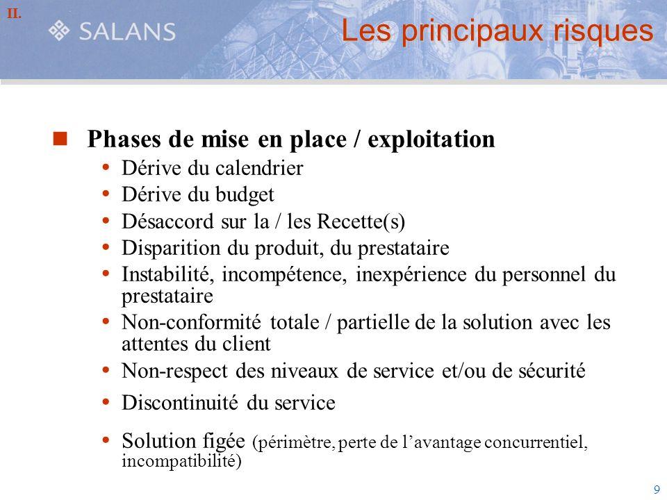 9 Les principaux risques Phases de mise en place / exploitation Dérive du calendrier Dérive du budget Désaccord sur la / les Recette(s) Disparition du