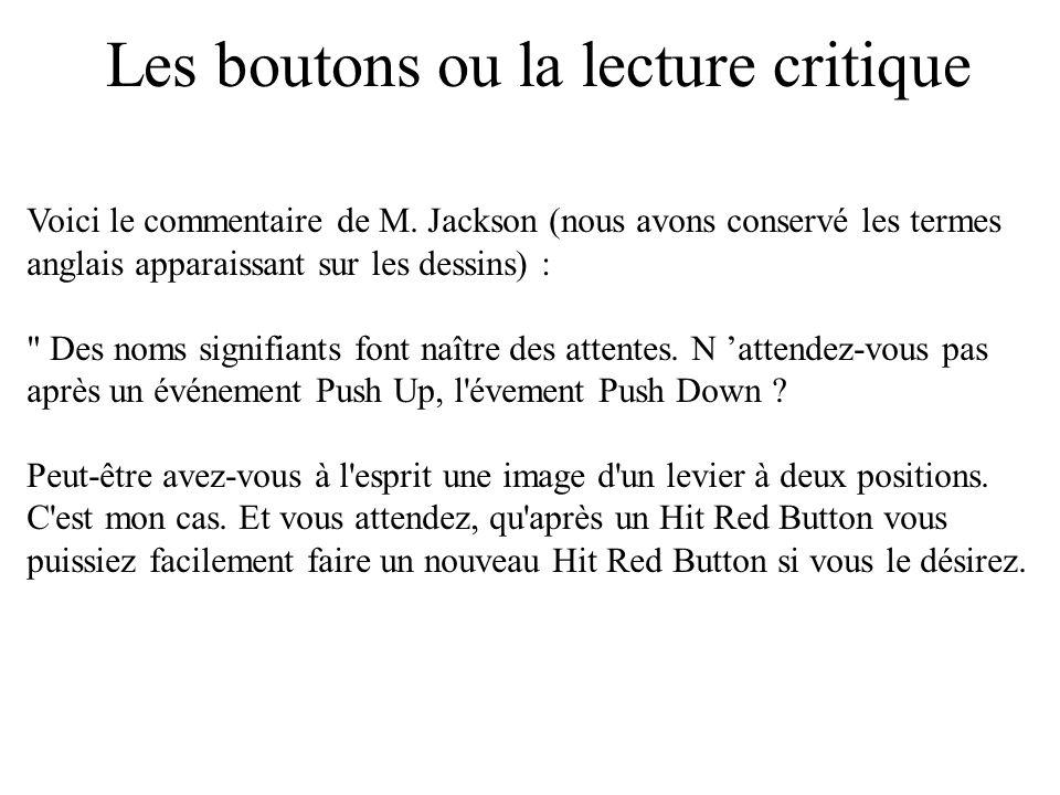 Les boutons ou la lecture critique Voici le commentaire de M. Jackson (nous avons conservé les termes anglais apparaissant sur les dessins) :
