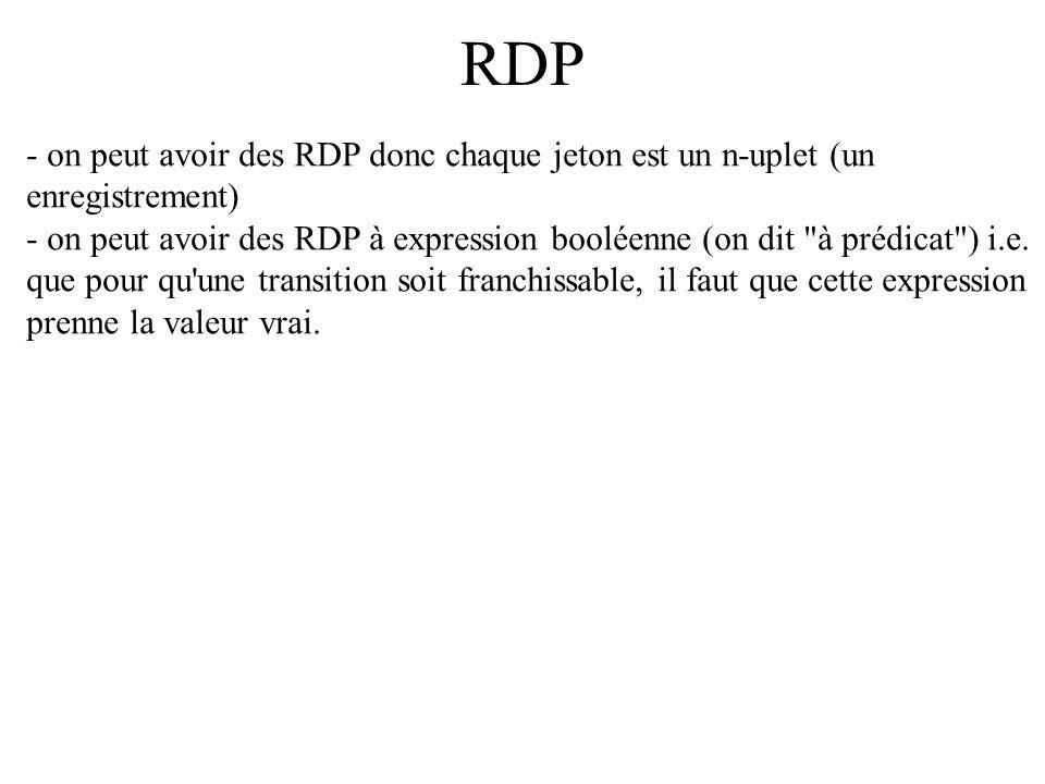 RDP - on peut avoir des RDP donc chaque jeton est un n-uplet (un enregistrement) - on peut avoir des RDP à expression booléenne (on dit