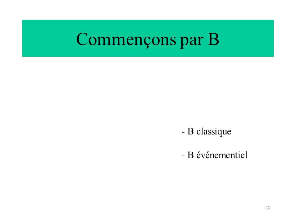 10 Commençons par B - B classique - B événementiel