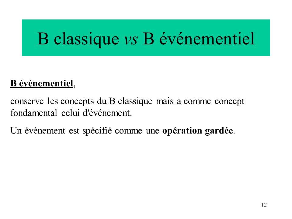 12 B classique vs B événementiel B événementiel, conserve les concepts du B classique mais a comme concept fondamental celui d'événement. Un événement