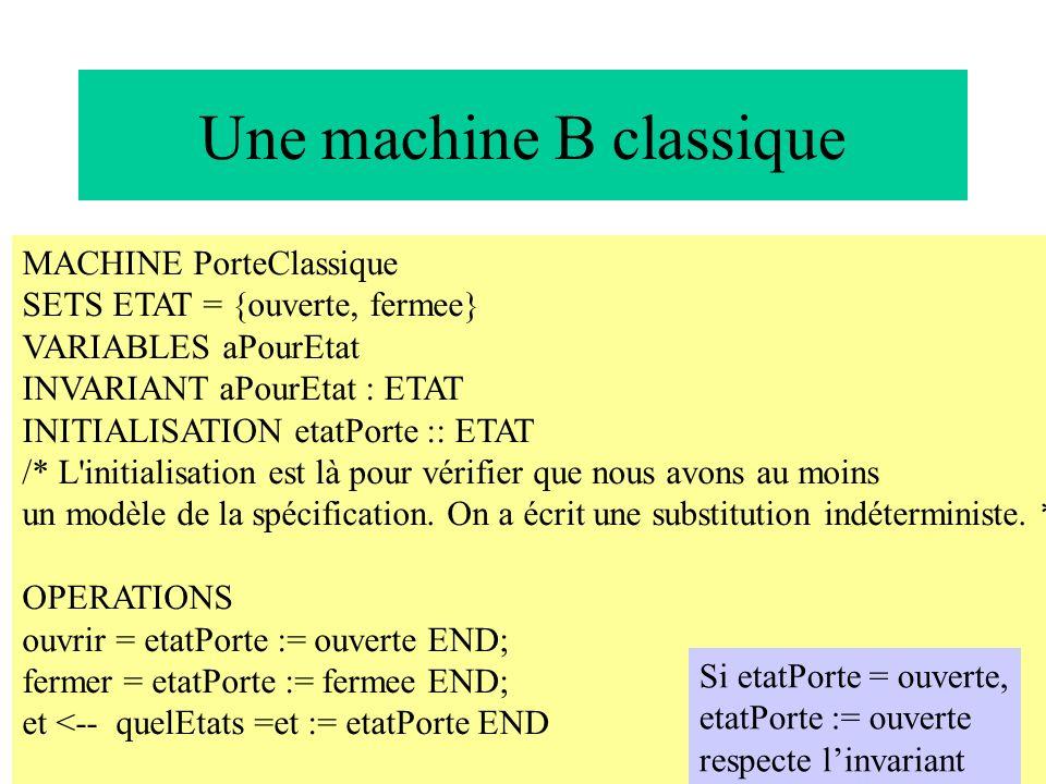 13 Une machine B classique MACHINE PorteClassique SETS ETAT = {ouverte, fermee} VARIABLES aPourEtat INVARIANT aPourEtat : ETAT INITIALISATION etatPort