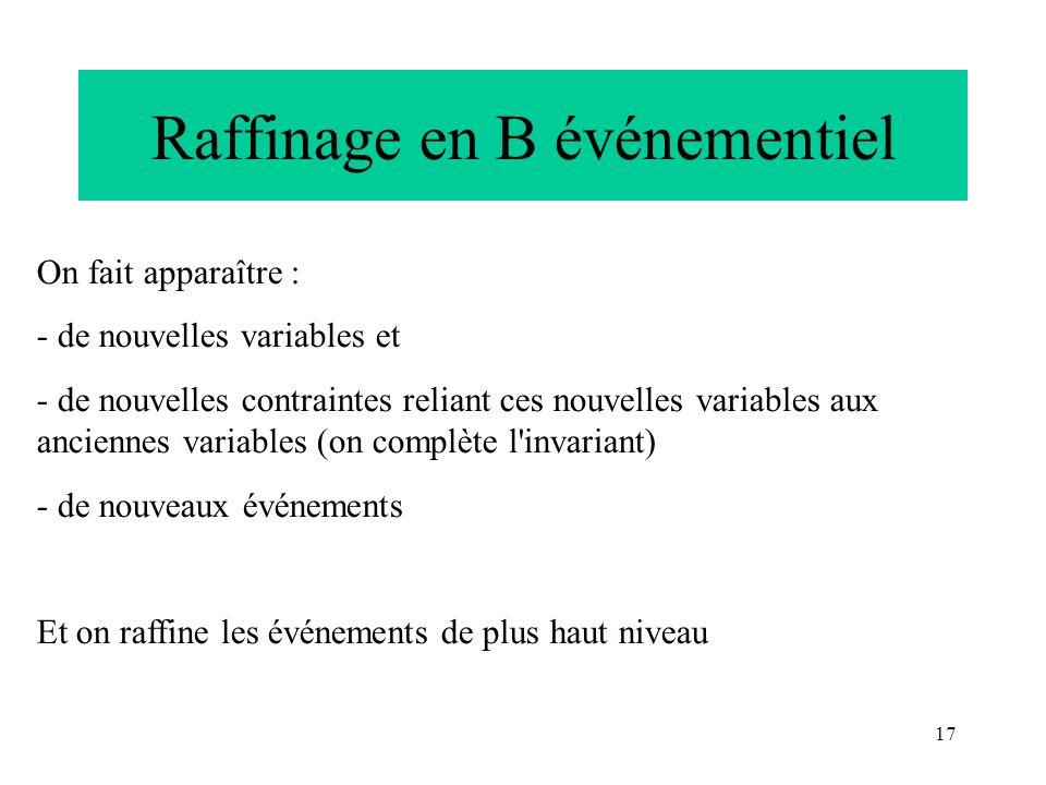 17 Raffinage en B événementiel On fait apparaître : - de nouvelles variables et - de nouvelles contraintes reliant ces nouvelles variables aux ancienn