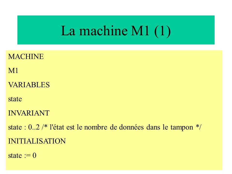 21 La machine M1 (1) MACHINE M1 VARIABLES state INVARIANT state : 0..2 /* l'état est le nombre de données dans le tampon */ INITIALISATION state := 0