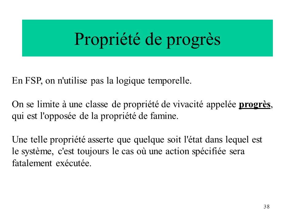 38 Propriété de progrès En FSP, on n'utilise pas la logique temporelle. On se limite à une classe de propriété de vivacité appelée progrès, qui est l'