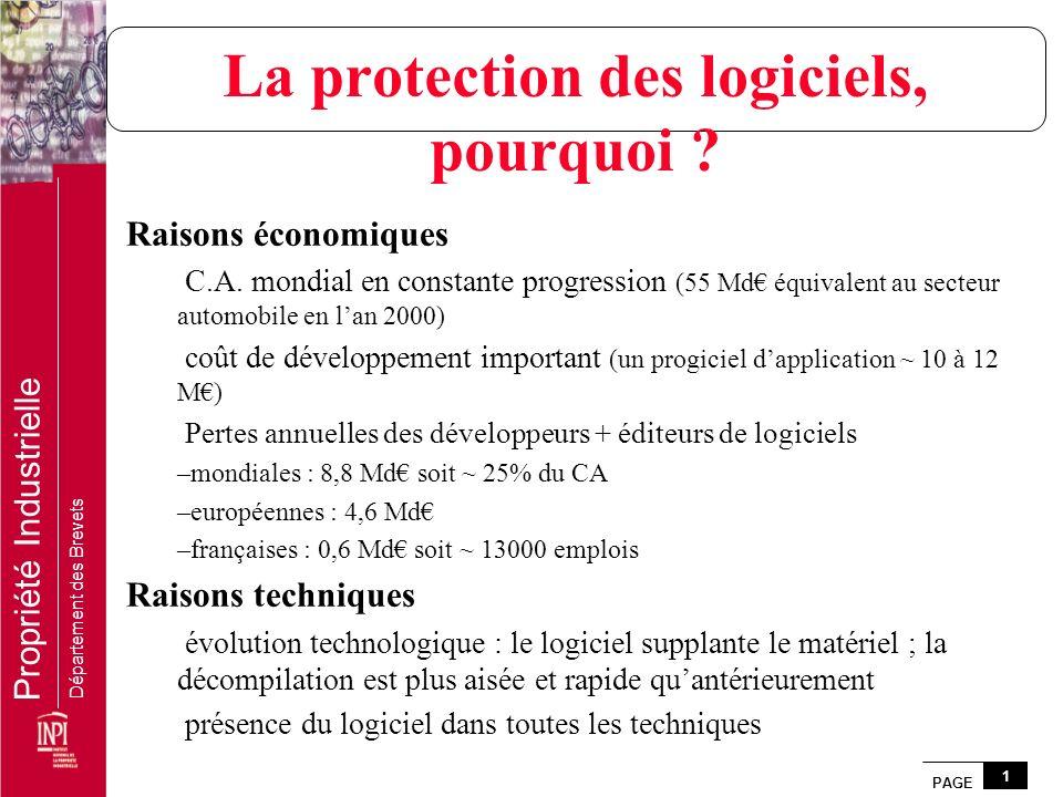 PAGE 1 Propriété Industrielle Département des Brevets La protection des logiciels, pourquoi ? Raisons économiques C.A. mondial en constante progressio