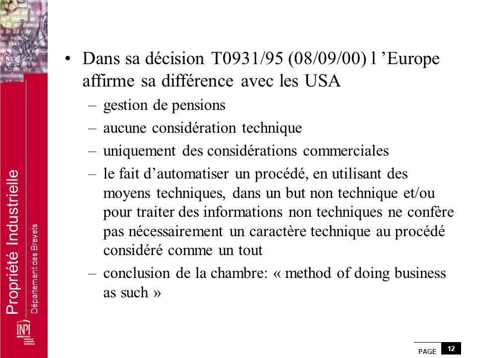 PAGE 12 Propriété Industrielle Département des Brevets Dans sa décision T0931/95 (08/09/00) l Europe affirme sa différence avec les USA –gestion de pe