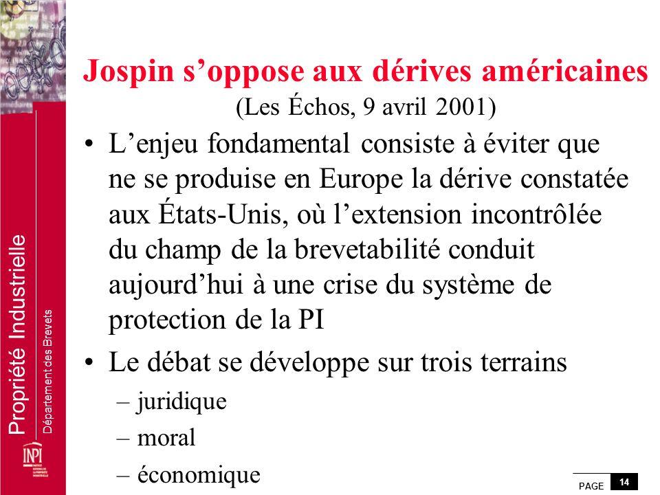 PAGE 14 Propriété Industrielle Département des Brevets Jospin soppose aux dérives américaines (Les Échos, 9 avril 2001) Lenjeu fondamental consiste à