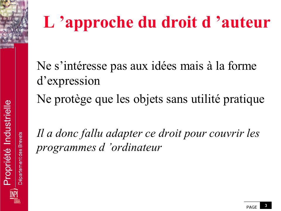 PAGE 3 Propriété Industrielle Département des Brevets L approche du droit d auteur Ne sintéresse pas aux idées mais à la forme dexpression Ne protège