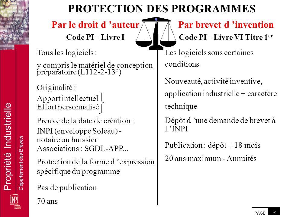 PAGE 5 Propriété Industrielle Département des Brevets PROTECTION DES PROGRAMMES Par le droit d auteur Code PI - Livre I Tous les logiciels : y compris