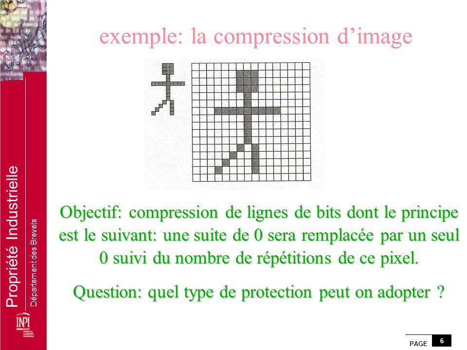 PAGE 6 Propriété Industrielle Département des Brevets exemple: la compression dimage Objectif: compression de lignes de bits dont le principe est le s