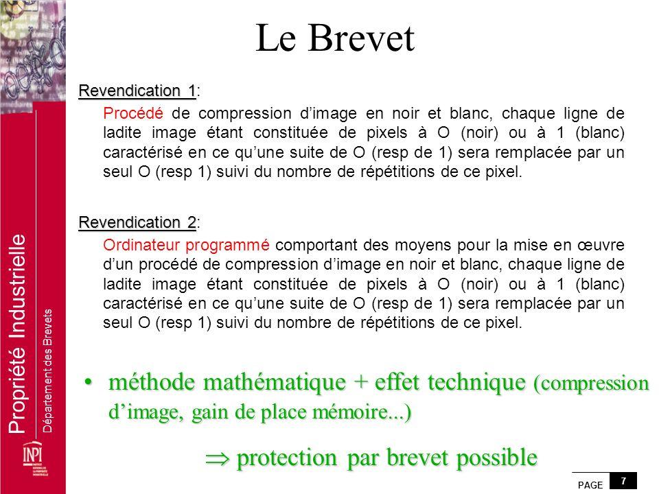 PAGE 7 Propriété Industrielle Département des Brevets Revendication 1 Revendication 1: Procédé de compression dimage en noir et blanc, chaque ligne de