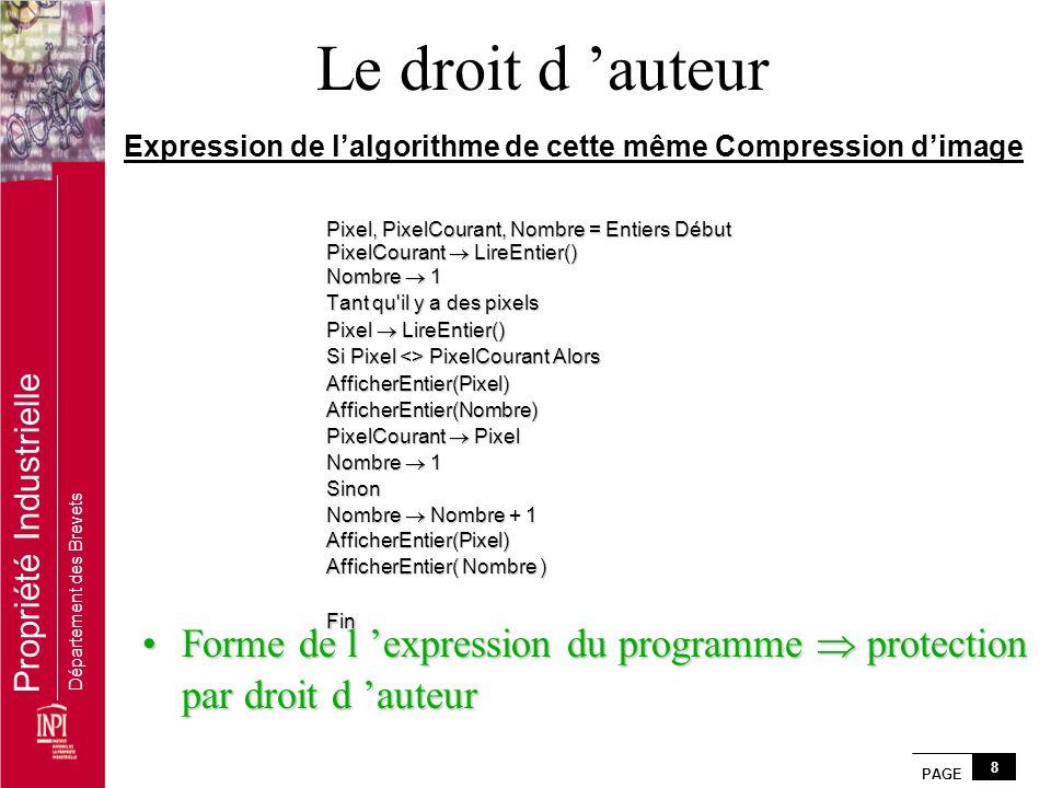PAGE 8 Propriété Industrielle Département des Brevets Expression de lalgorithme de cette même Compression dimage Pixel, PixelCourant, Nombre = Entiers