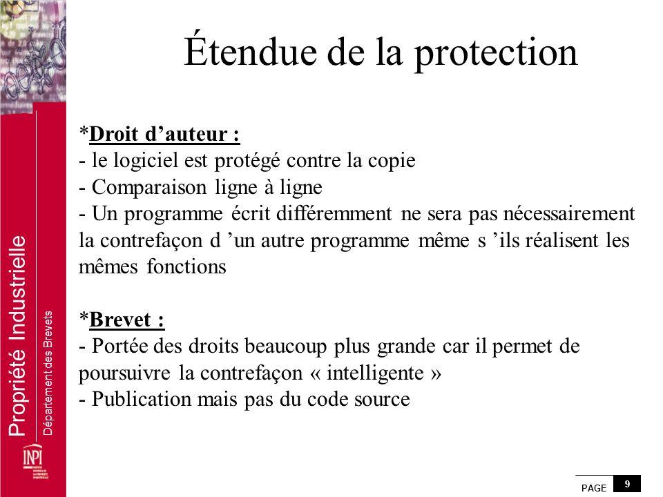 PAGE 9 Propriété Industrielle Département des Brevets Étendue de la protection *Droit dauteur : - le logiciel est protégé contre la copie - Comparaiso
