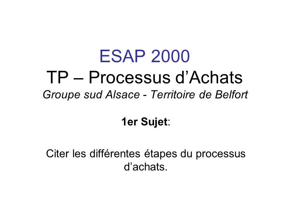 ESAP 2000 TP – Processus dAchats Groupe sud Alsace - Territoire de Belfort 1er Sujet: Citer les différentes étapes du processus dachats.