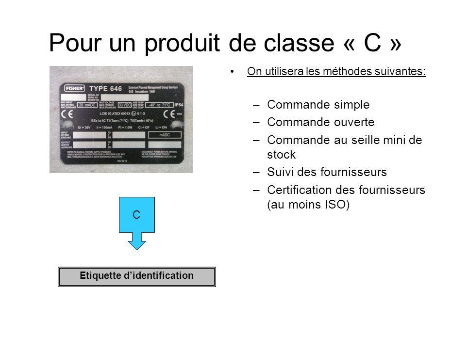 Pour un produit de classe « C » On utilisera les méthodes suivantes: –C–Commande simple –C–Commande ouverte –C–Commande au seille mini de stock –S–Sui