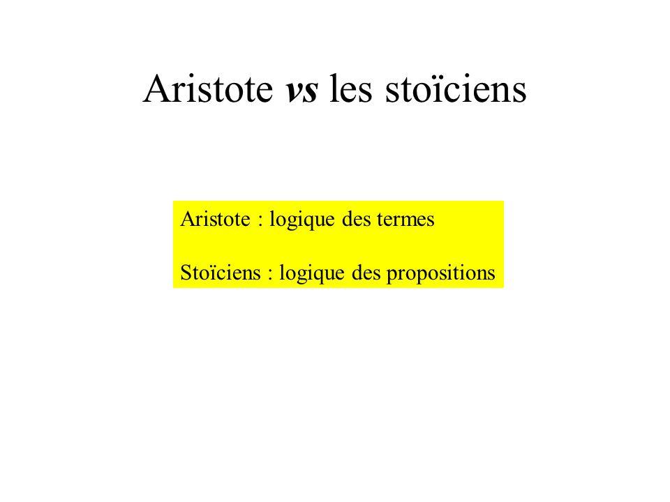 Aristote vs les stoïciens Aristote : logique des termes Stoïciens : logique des propositions
