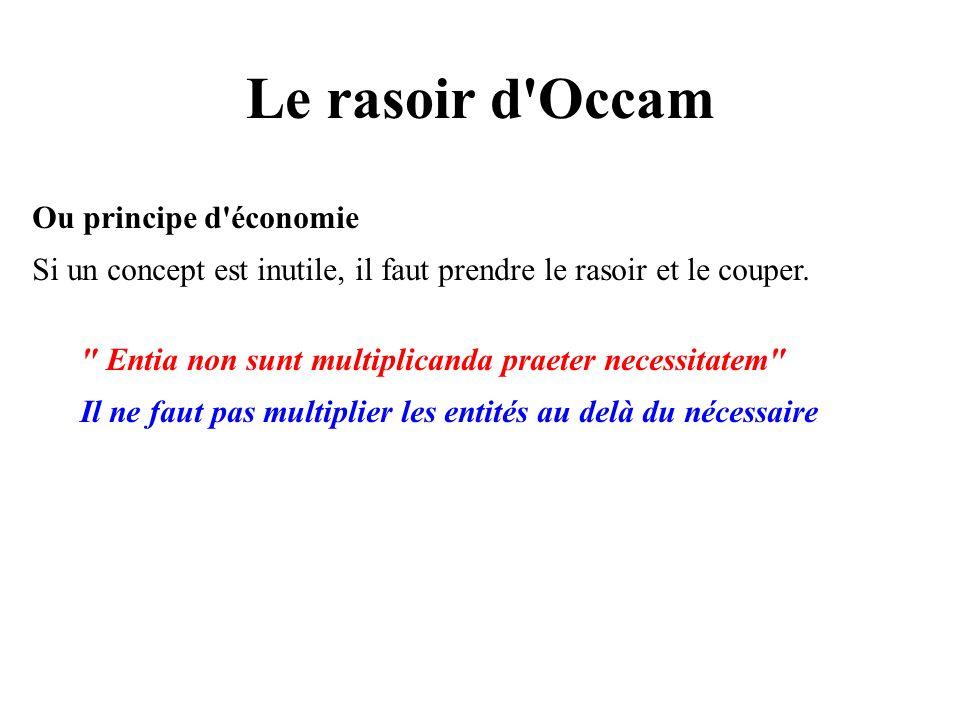 Le rasoir d'Occam Ou principe d'économie Si un concept est inutile, il faut prendre le rasoir et le couper.