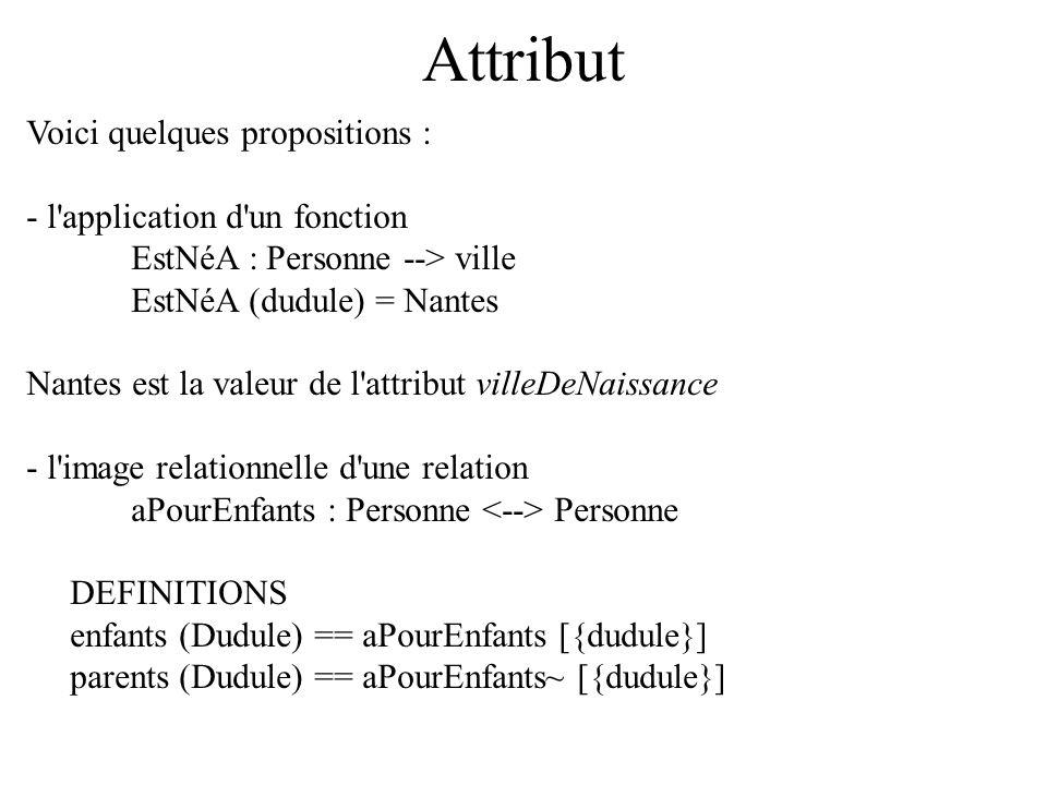 Attribut Voici quelques propositions : - l'application d'un fonction EstNéA : Personne --> ville EstNéA (dudule) = Nantes Nantes est la valeur de l'at