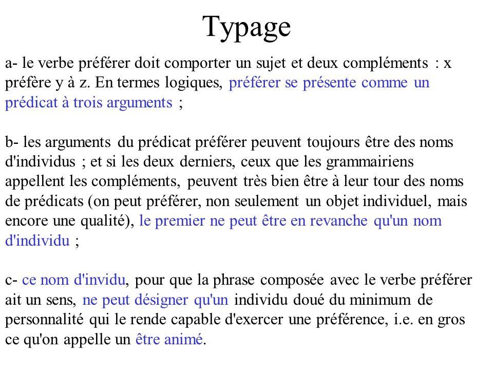Typage a- le verbe préférer doit comporter un sujet et deux compléments : x préfère y à z. En termes logiques, préférer se présente comme un prédicat