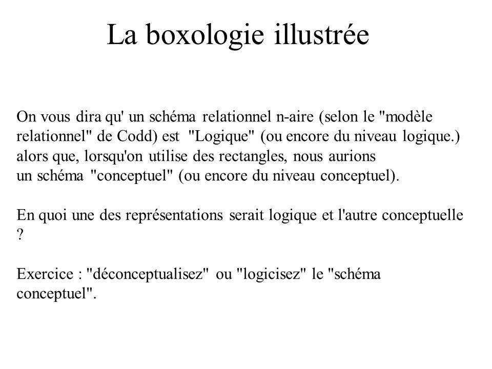La boxologie illustrée On vous dira qu' un schéma relationnel n-aire (selon le