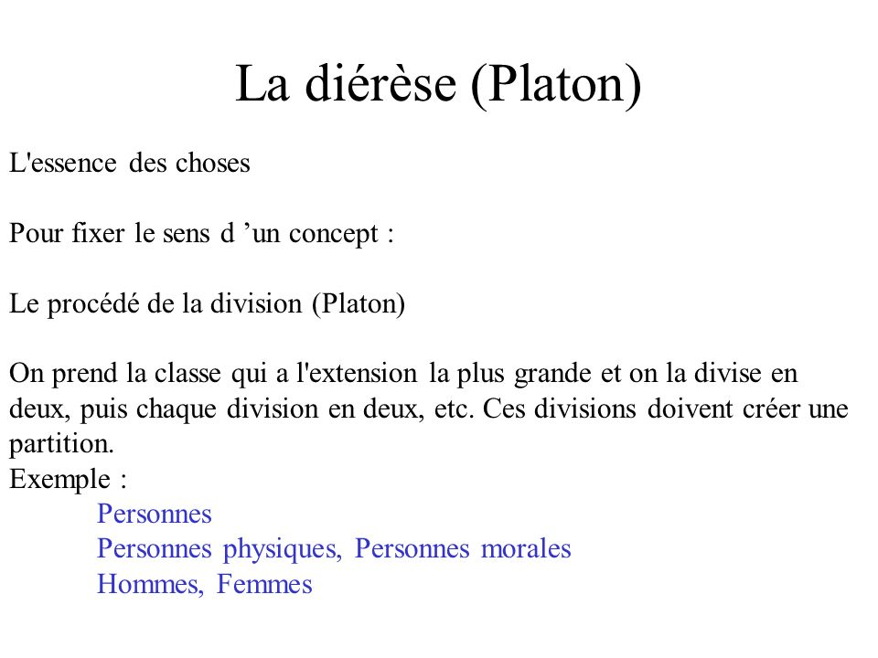 La diérèse (Platon) L'essence des choses Pour fixer le sens d un concept : Le procédé de la division (Platon) On prend la classe qui a l'extension la