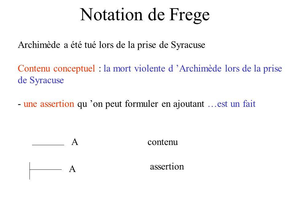 Notation de Frege Archimède a été tué lors de la prise de Syracuse Contenu conceptuel : la mort violente d Archimède lors de la prise de Syracuse - un