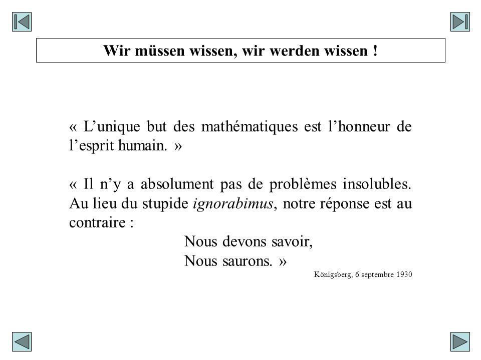 « Lunique but des mathématiques est lhonneur de lesprit humain. » « Il ny a absolument pas de problèmes insolubles. Au lieu du stupide ignorabimus, no
