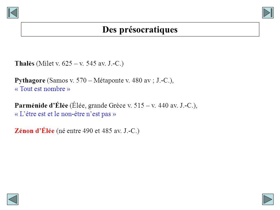 Thalès (Milet v. 625 – v. 545 av. J.-C.) Pythagore (Samos v. 570 – Métaponte v. 480 av ; J.-C.), « Tout est nombre » Parménide dÉlée (Élée, grande Grè