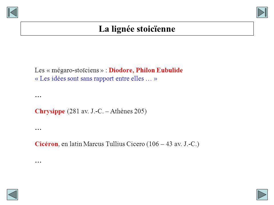 Les « mégaro-stoïciens » : Diodore, Philon Eubulide « Les idées sont sans rapport entre elles … » … Chrysippe (281 av. J.-C. – Athènes 205) … Cicéron,