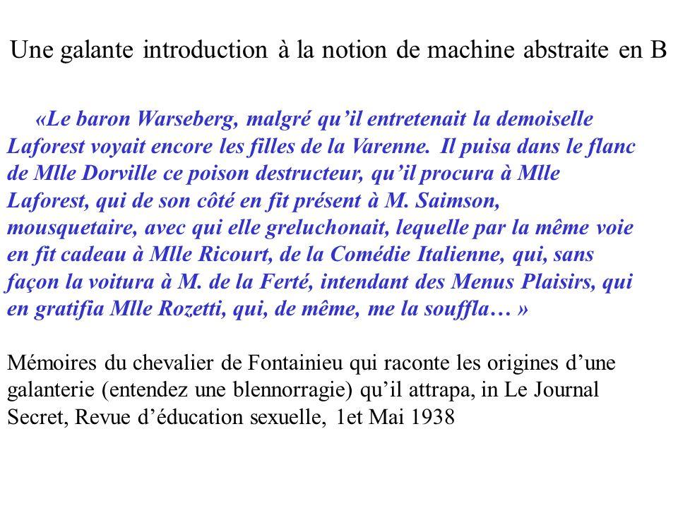 NouvelleGalanterie (Pers1, Pers2) = PRE Pers1 : Personnes & Pers2 : Personnes & Pers2  -> Pers1 :/ AdonnéGalanterieA THEN AdonnéGalanterieA : = AdonnéGalanterieA \/ {Pers1  -> Pers2} END ; Une galante introduction à la notion de machine abstraite en B