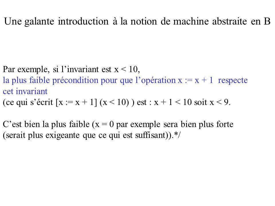 Par exemple, si linvariant est x < 10, la plus faible précondition pour que lopération x := x + 1 respecte cet invariant (ce qui sécrit [x := x + 1] (
