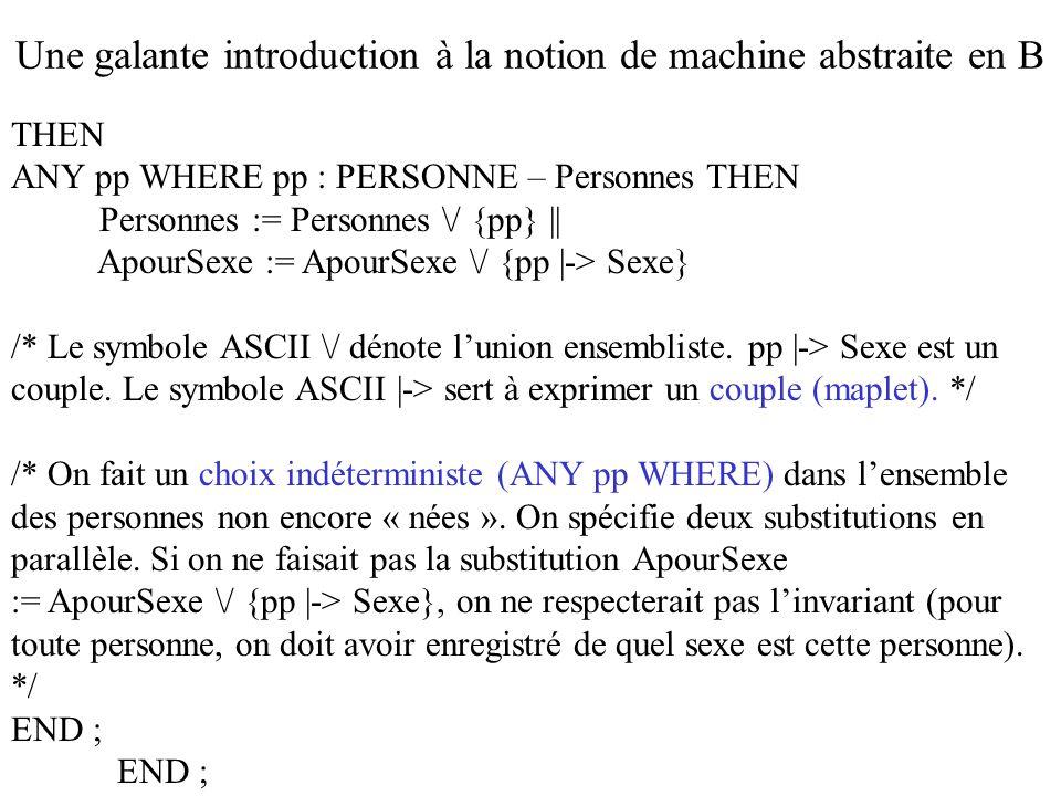 THEN ANY pp WHERE pp : PERSONNE – Personnes THEN Personnes := Personnes \/ {pp} || ApourSexe := ApourSexe \/ {pp |-> Sexe} /* Le symbole ASCII \/ déno