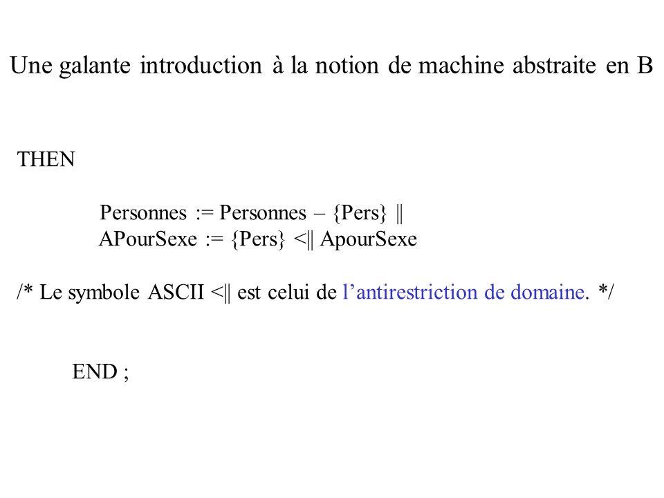 THEN Personnes := Personnes – {Pers} || APourSexe := {Pers} <|| ApourSexe /* Le symbole ASCII <|| est celui de lantirestriction de domaine. */ END ; U