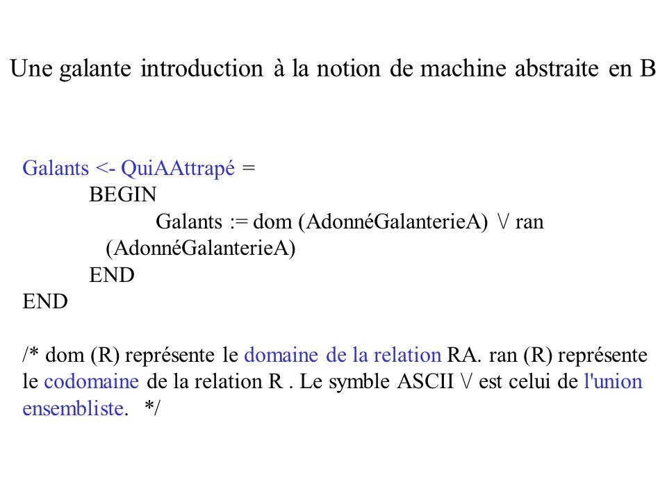 Galants <- QuiAAttrapé = BEGIN Galants := dom (AdonnéGalanterieA) \/ ran (AdonnéGalanterieA) END /* dom (R) représente le domaine de la relation RA. r