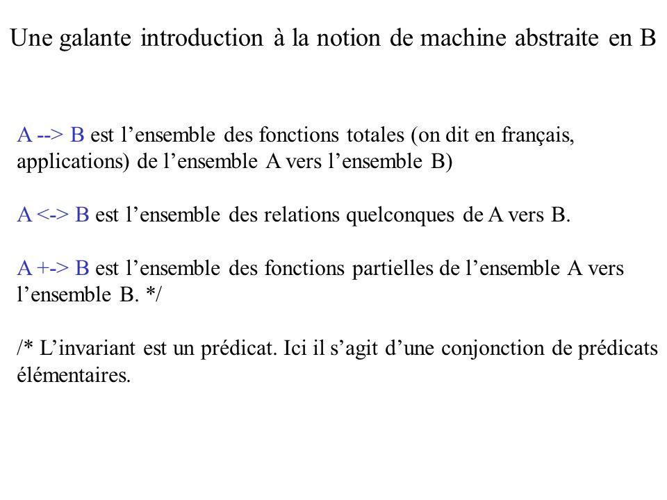 SupressionPersonne (Pers) = PRE Pers : Personnes & Pers / : dom (APourMétier) & Pers /: (dom (AdonnéGalanterieA) \/ ran (AdonnéGalanterieA)) /* / : est le symbole ASCII pour la négation de lappartenance ensembliste dom (APourMétier) désigne le domaine de la relation APourMétier */ Une galante introduction à la notion de machine abstraite en B